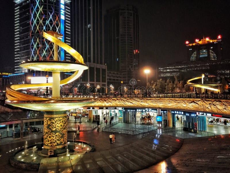 Dragon sculpture in Chengdu Tianfu Square royalty free stock photo