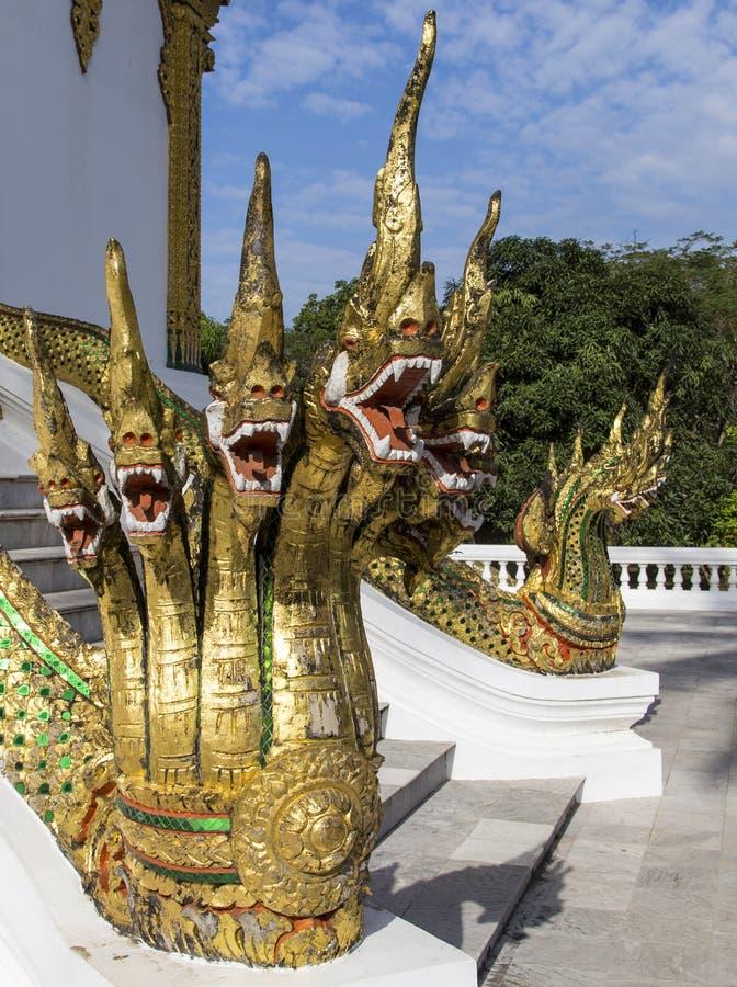 Dragon sculpture in palace , luang prabang, laos royalty free stock photos