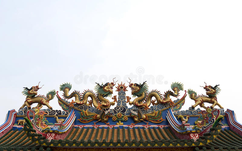 Dragon sculpture. On the roof of a Chinese temple stock image
