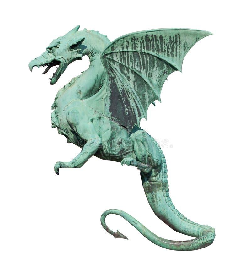 Dragon sculpture side view on white royalty free stock photos