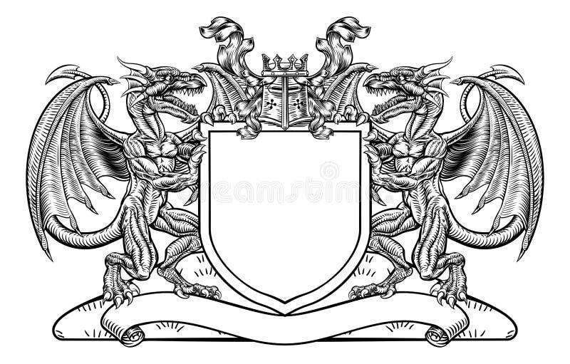 Dragon Shield Heraldic Crest Coat van Wapensembleem vector illustratie