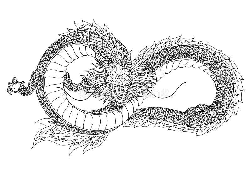 Dragon sign symbol logo, infinity shape, hand drawn vector illustration royalty free illustration