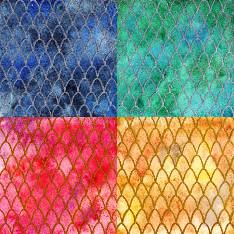 Dragon skin scales pattern texture background four colors set vector illustration