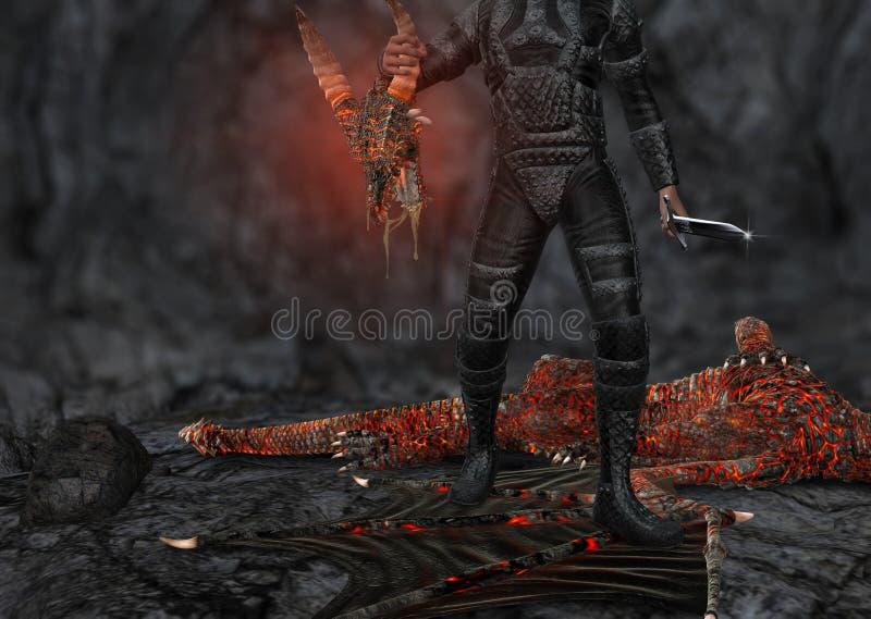 Dragon Slayer Slain Creature Illustration vektor abbildung