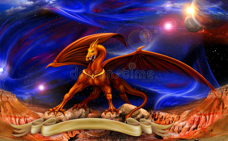 Dragon in space over the parchments royalty free illustration