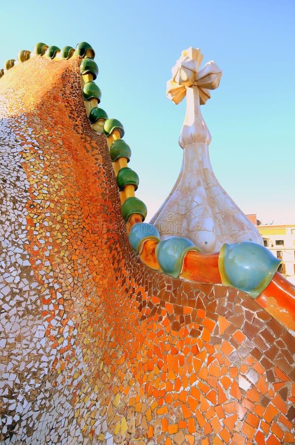 Dragon spine by Gaudi (Casa Batllo). Dragon form roof fragment of Casa Batllo by Antoni Gaudi in Barcelona, Spain royalty free stock photography