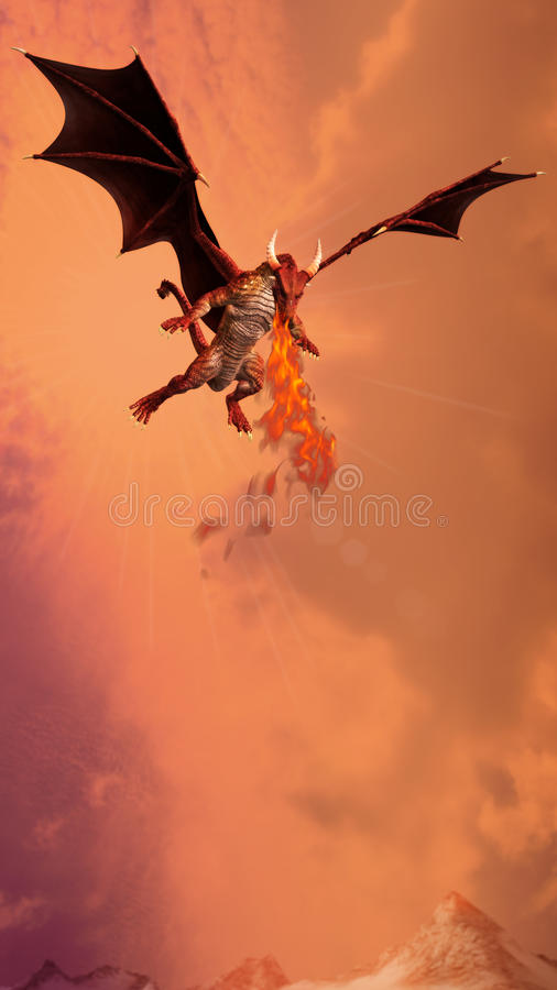 Dragon Spiting Fire Illustration vermelho ilustração stock
