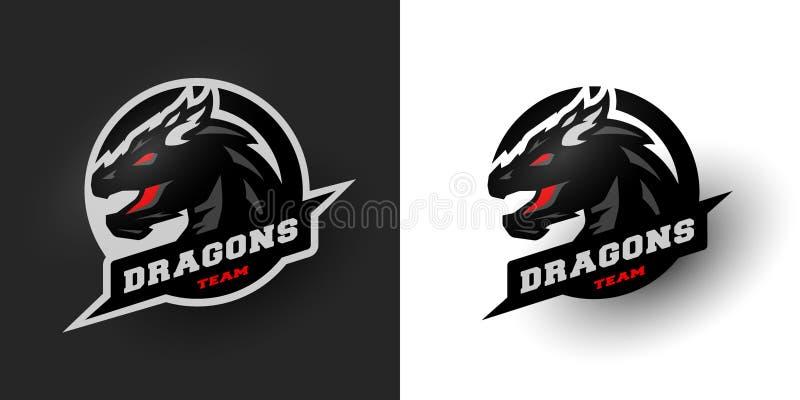 Dragon Sport logo alternativ två royaltyfri illustrationer