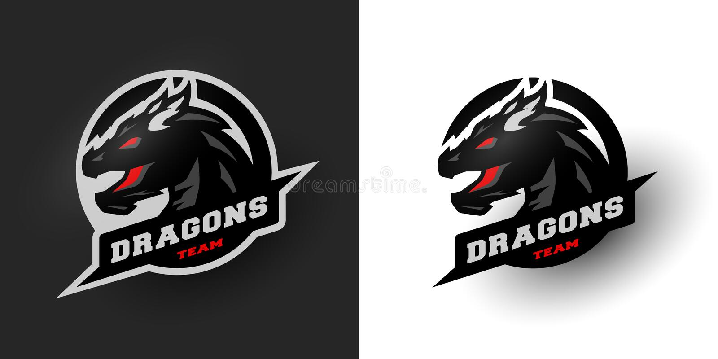 Dragon Sport logo. Two options. royalty free illustration