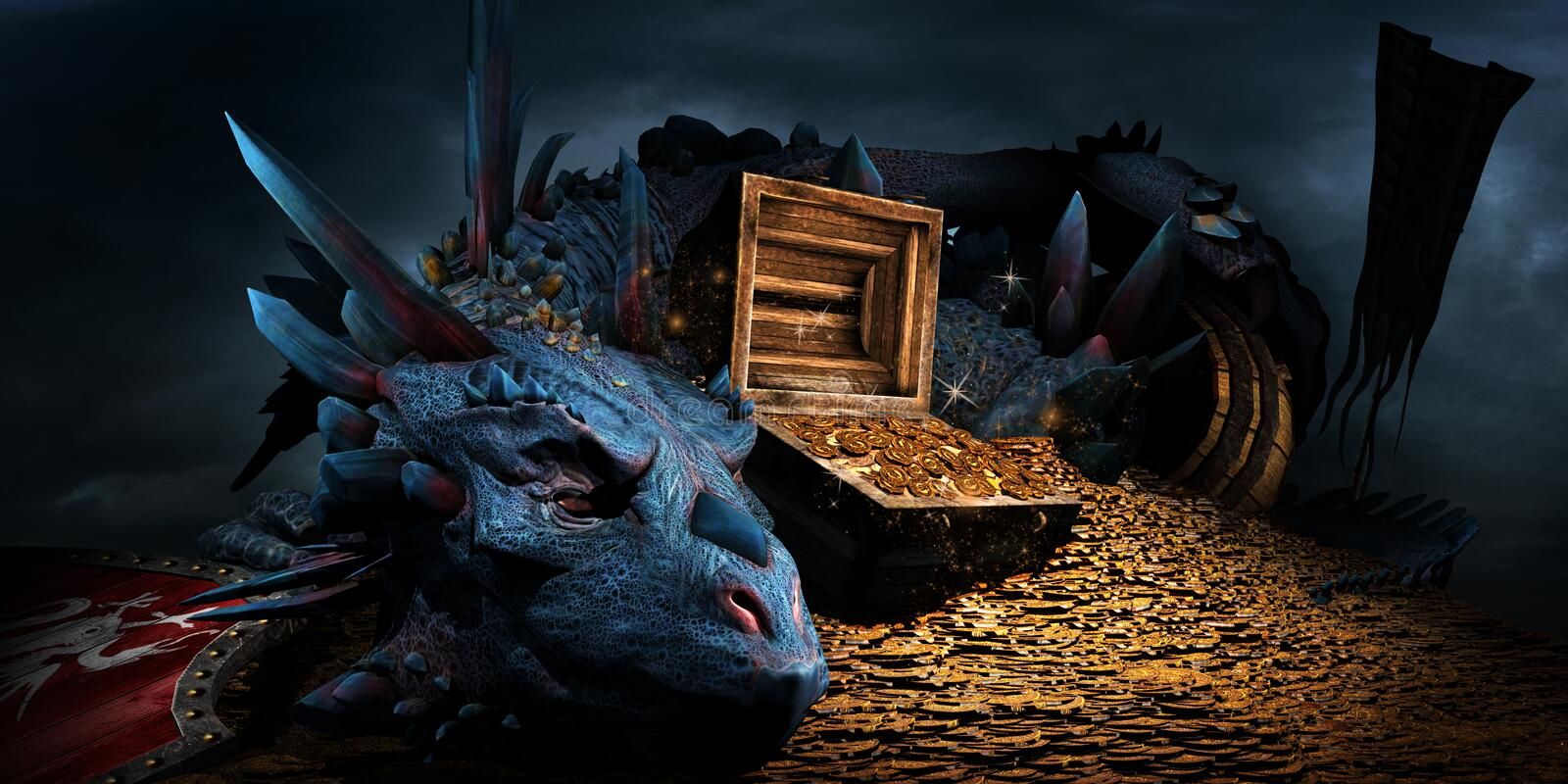 Dragon on the stack of gold. Fantasy scene with blue dragon, treasure chest and pile of golden coins royalty free illustration