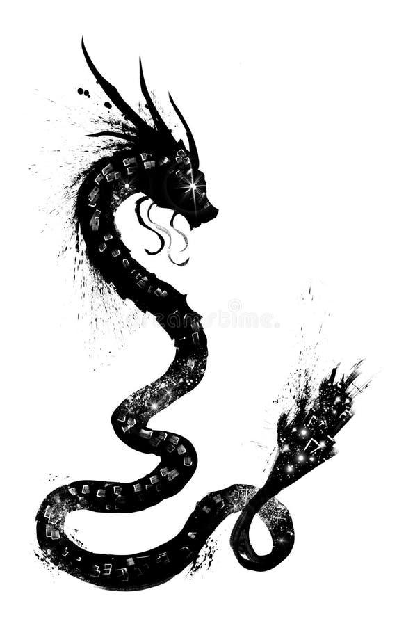 dragon with stars inside stock illustration