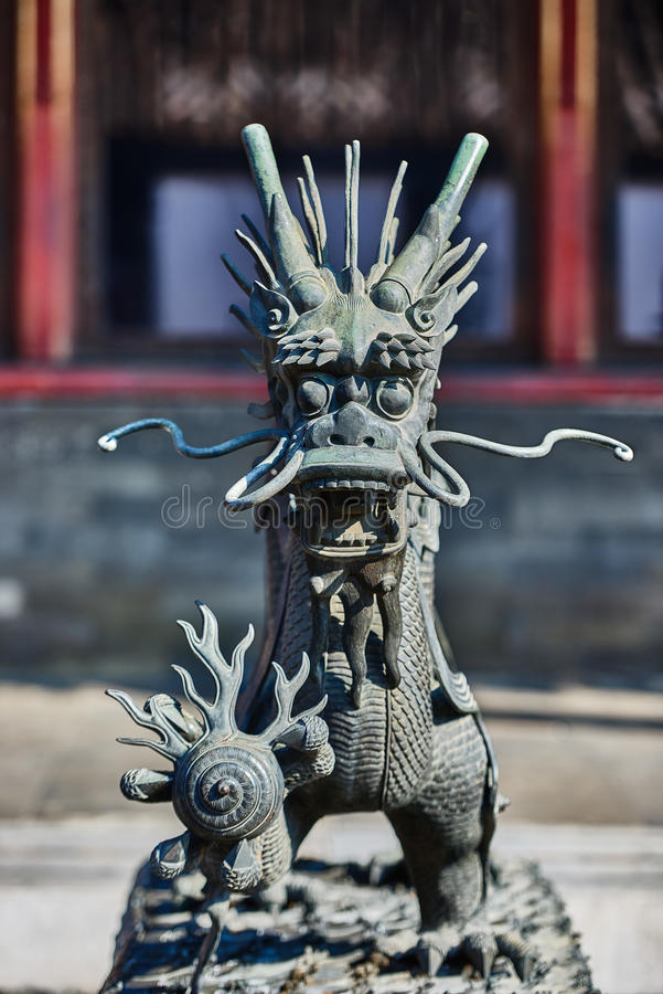 Dragon Statue Forbidden City Beijing Kina royaltyfri foto