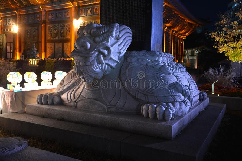 Dragon statue at Jogyesa buddhism temple. In Seoul, South Korea royalty free stock photography