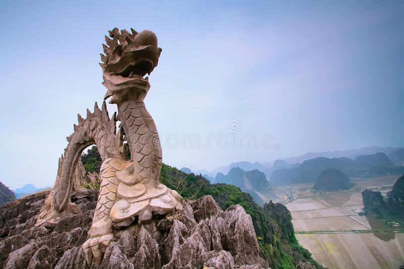 Dragon Statue near Hang Mua. Pagoda stock photos