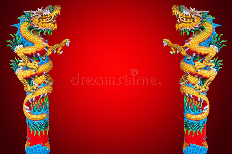 Dragon statue in red background. royalty free stock images