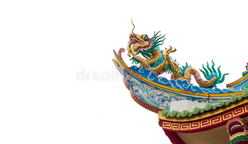 Dragon statue on Shrine roof on white background, Clipping path.  stock images