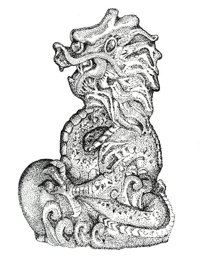 Dragon Statue Stippled en fondo aislado imagen de archivo