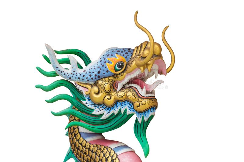 Dragon statue on white background. royalty free illustration