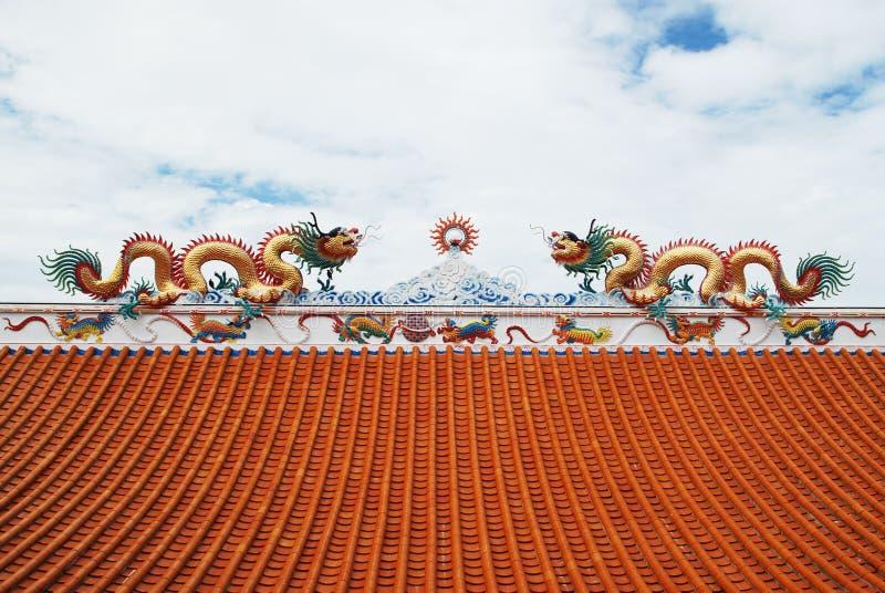 Dragon Status On Roof Royalty Free Stock Photo