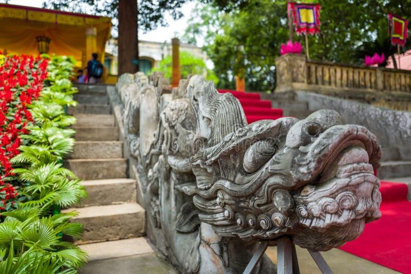 Dragon steps at Thang Long Citadel in Hanoi, Vietnam royalty free stock photos