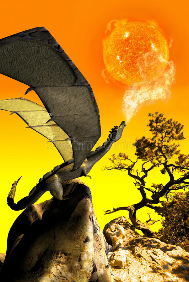 Download The dragon  and the sun stock illustration. Image of imagine - 16702926