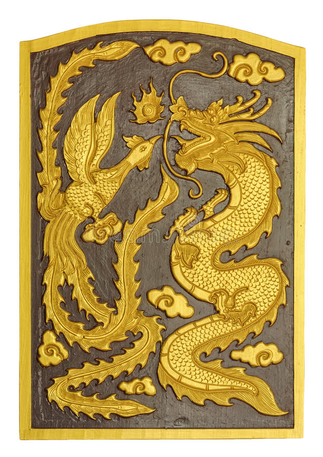 Dragon and swan carved pattern on the wooden texture royalty free stock image