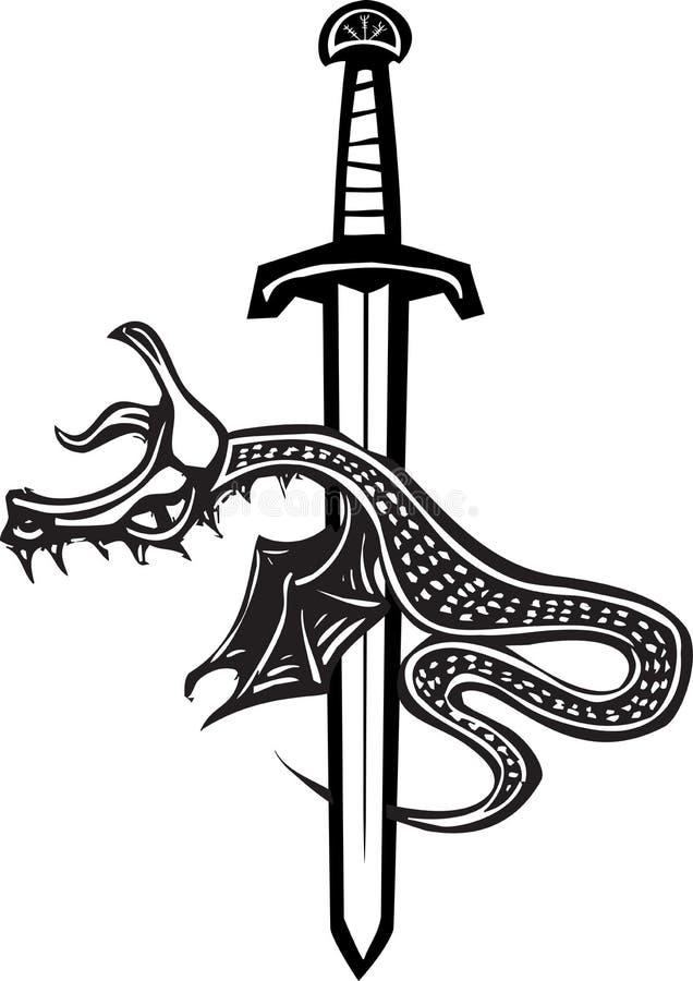 Dragon Sword Down royaltyfri illustrationer