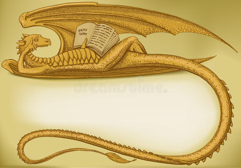 Dragon symbol in 2012. Lying dragon forms a frame with empty place for your text royalty free illustration