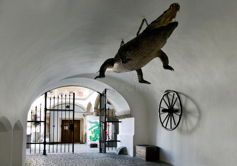 Dragon - symbol of the city, Old Town hall, town Brno, Moravia,. BRNO, CZECH REPUBLIC - MAY 10, 2013: dragon - symbol of the city, Old Town hall, town Brno stock image