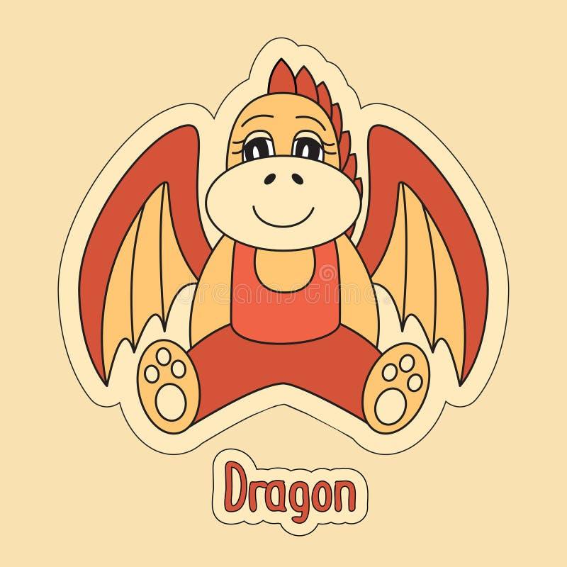 Dragon, symbole de bande dessinée de l'horoscope chinois 2024 ans illustration libre de droits