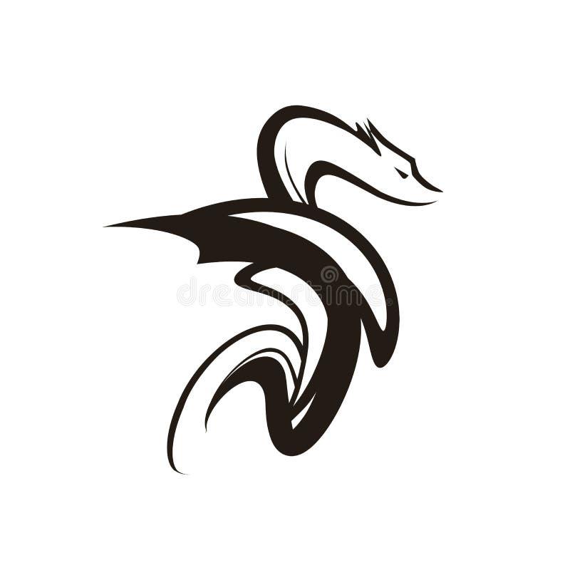 Dragon Tattoo Symbol Vektorillustration av färg för fantasidjursvart som isoleras på vit royaltyfri illustrationer