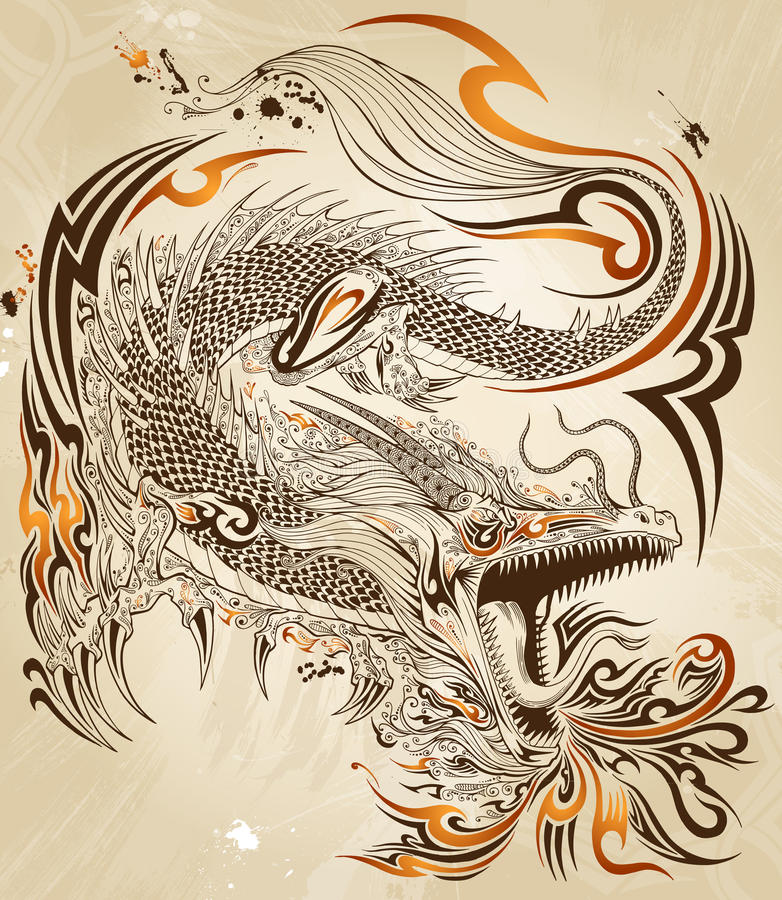 Dragon Tattoo Vector illustration stock