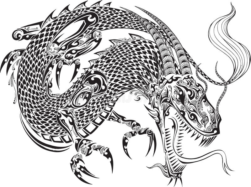 Dragon Tattoo Vector royalty-vrije illustratie