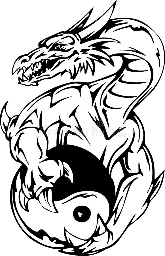 Dragon tattoo with yin-yang sign stock illustration