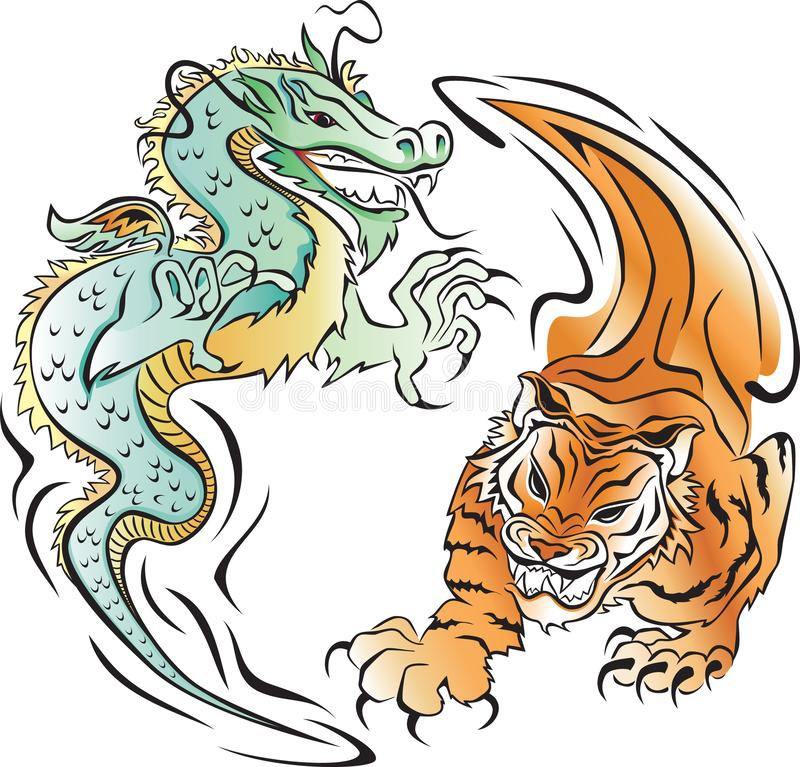 Tiger and Dragon Battle vector illustration