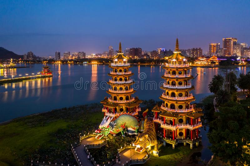 Dragon and Tiger Pagodas famous building in southern Taiwan at night, Aerial view Dragon and Tiger Pagodas, Kaohsiung, Taiwan stock photo