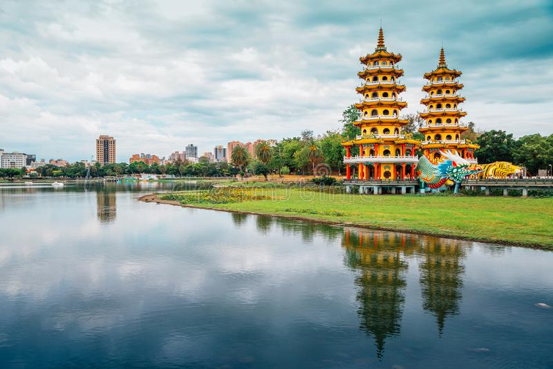 Dragon Tiger Tower with Lotus Pond in Kaohsiung, Taiwan royalty free stock photos