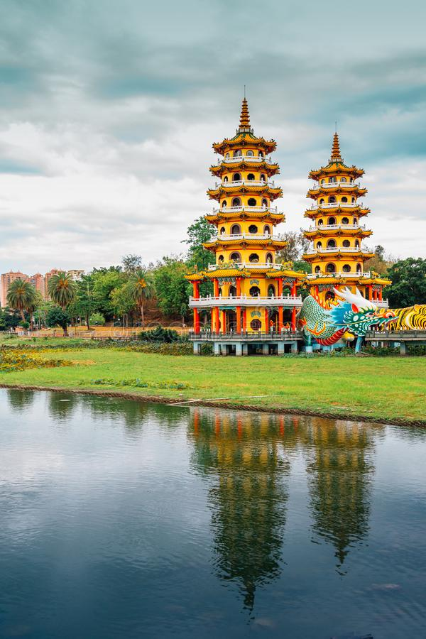 Dragon Tiger Tower with Lotus Pond in Kaohsiung, Taiwan. Dragon Tiger Tower at Lotus Pond in Kaohsiung, Taiwan stock image