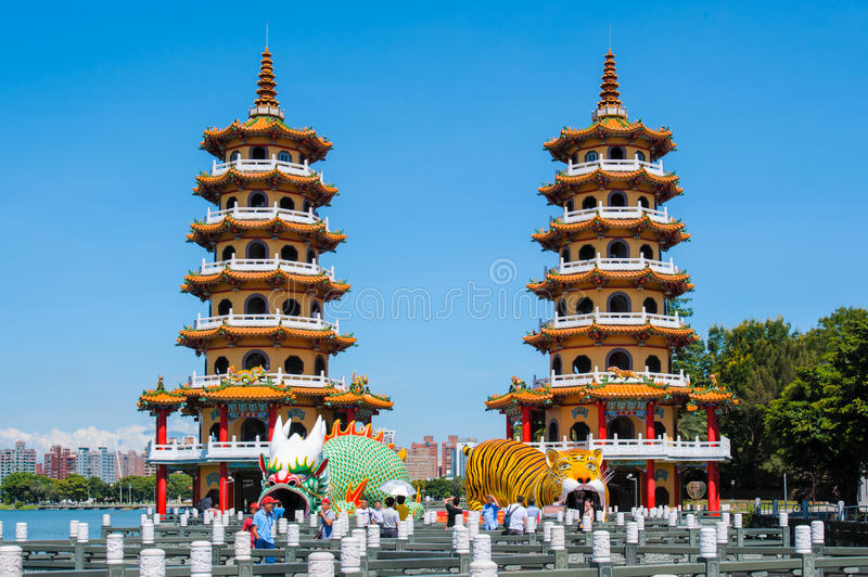 Dragon Tiger Towers in Kaohsiung stock image