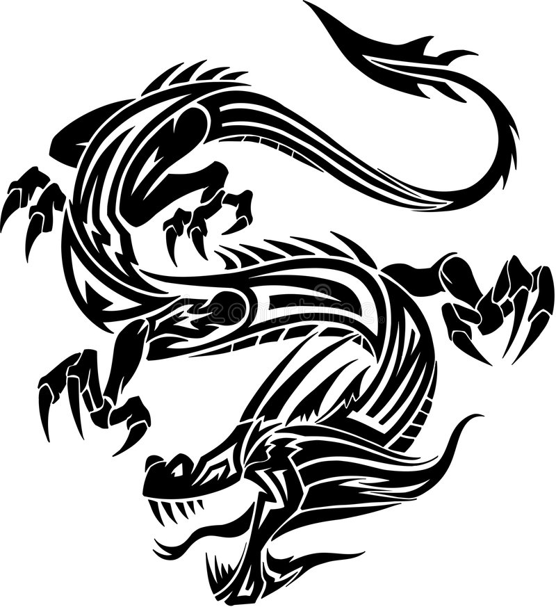 Dragon tribal de tatouage illustration libre de droits