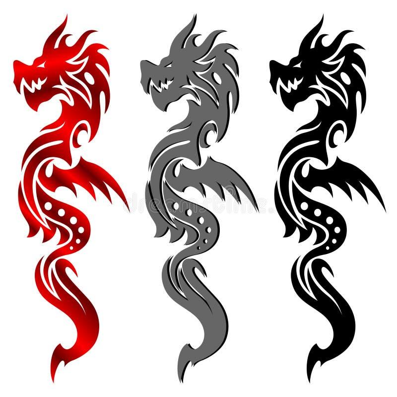 Dragon, tribal tattoo. Dragon in the form of a tribal tattoo stock illustration