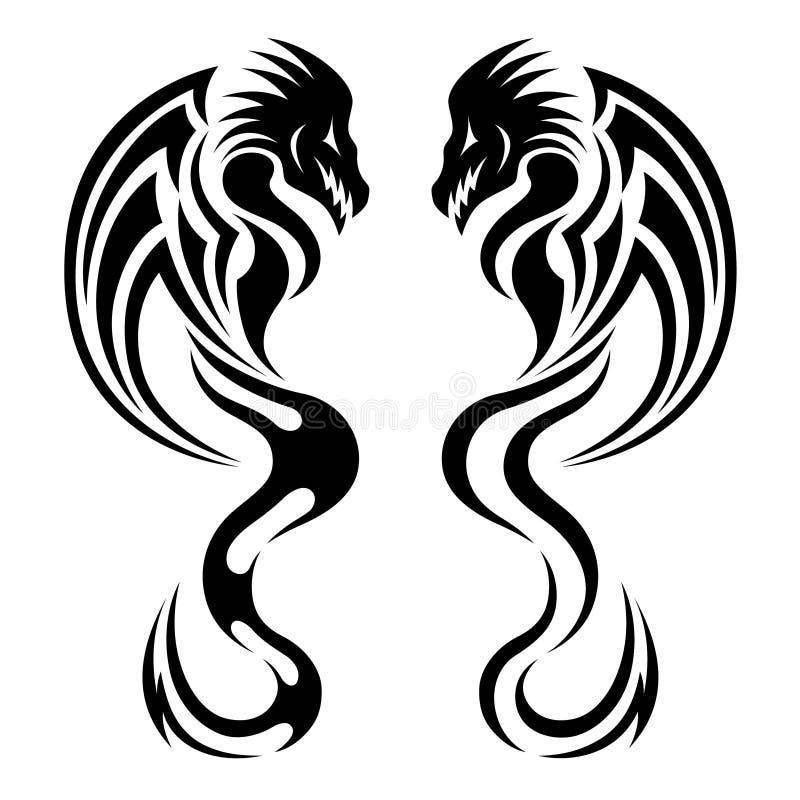 Dragon, tribal tattoo vector illustration