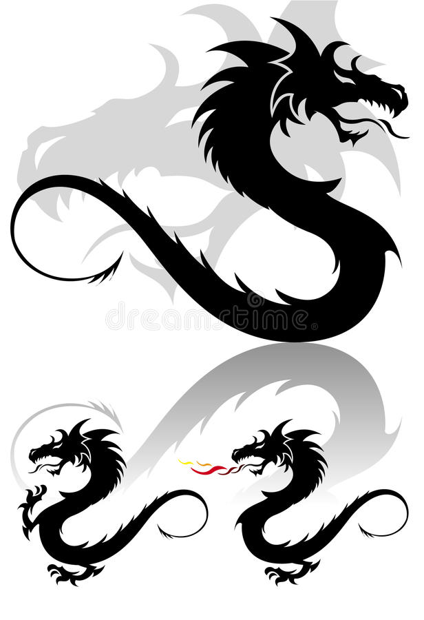 Download Dragon Tribal Tattoo Figure Set In Cute Colors Stock Vector - Image: 15067081