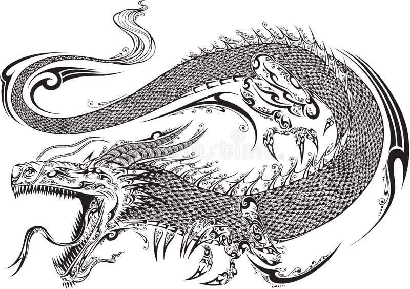 Dragon Tribal Tattoo Vector stock de ilustración