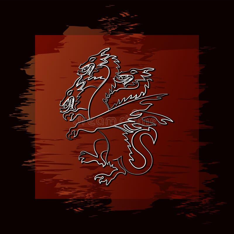 dragon Trois-dirigé Animal mythique illustration de vecteur