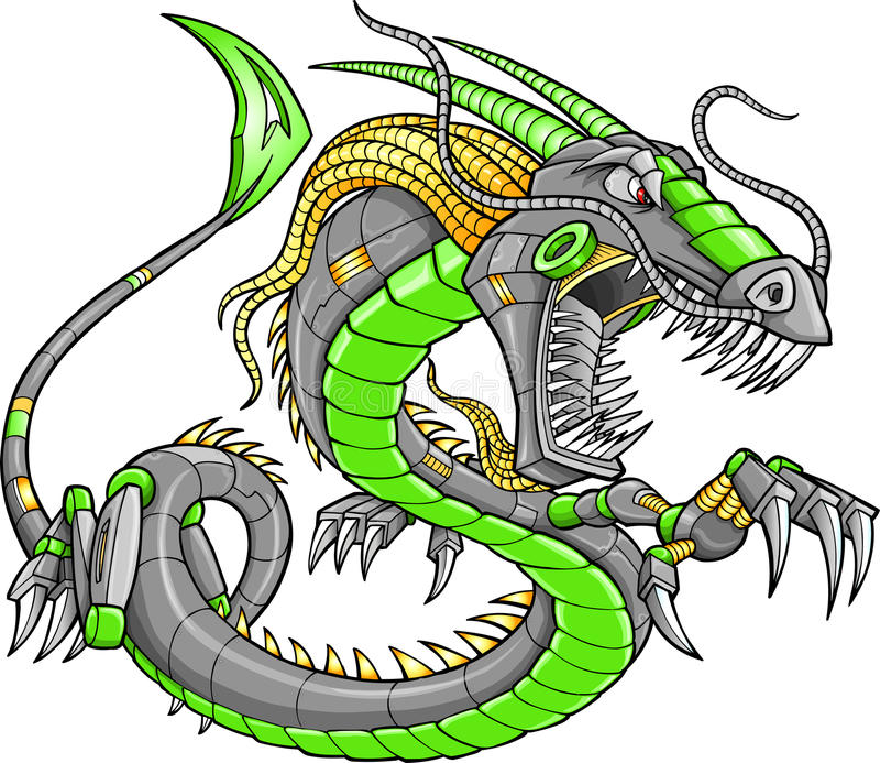 Dragon vert de Cyborg de robot illustration libre de droits