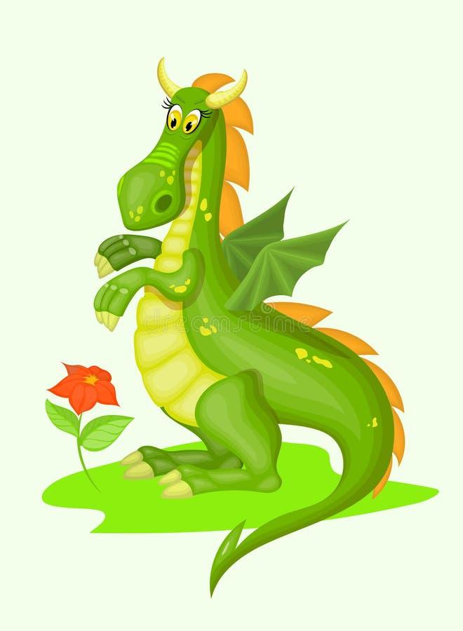 Dragon vert de dessin animé photos libres de droits