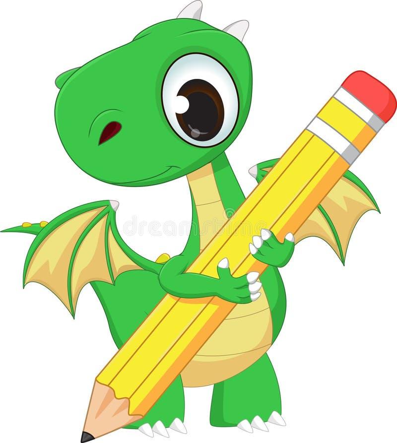 Dragon vert mignon avec le crayon illustration de vecteur