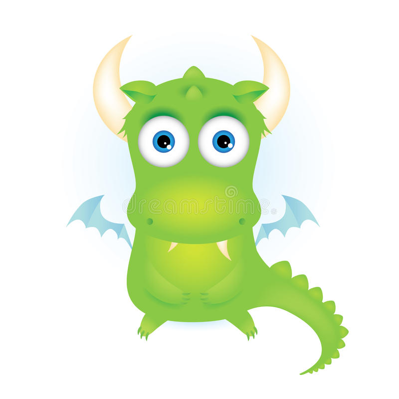 Dragon vert mignon de dessin animé illustration libre de droits