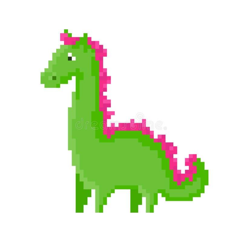 Dragon vert mignon de pixel de bande dessinée illustration de vecteur